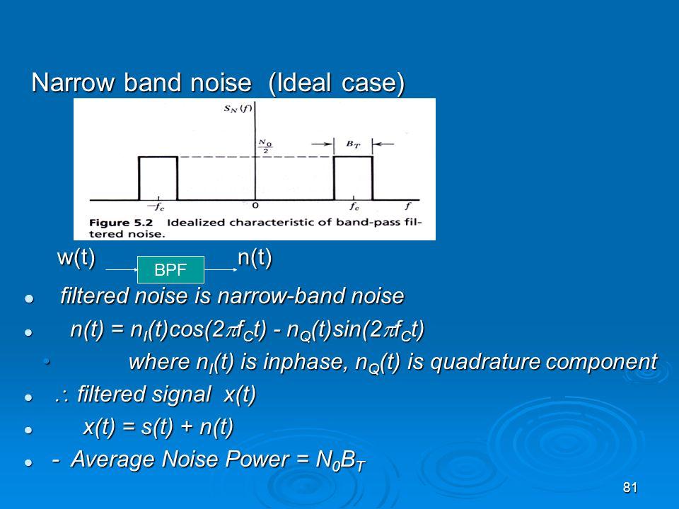 81 Narrow band noise (Ideal case) Narrow band noise (Ideal case) w(t) n(t) w(t) n(t) filtered noise is narrow-band noise filtered noise is narrow-band