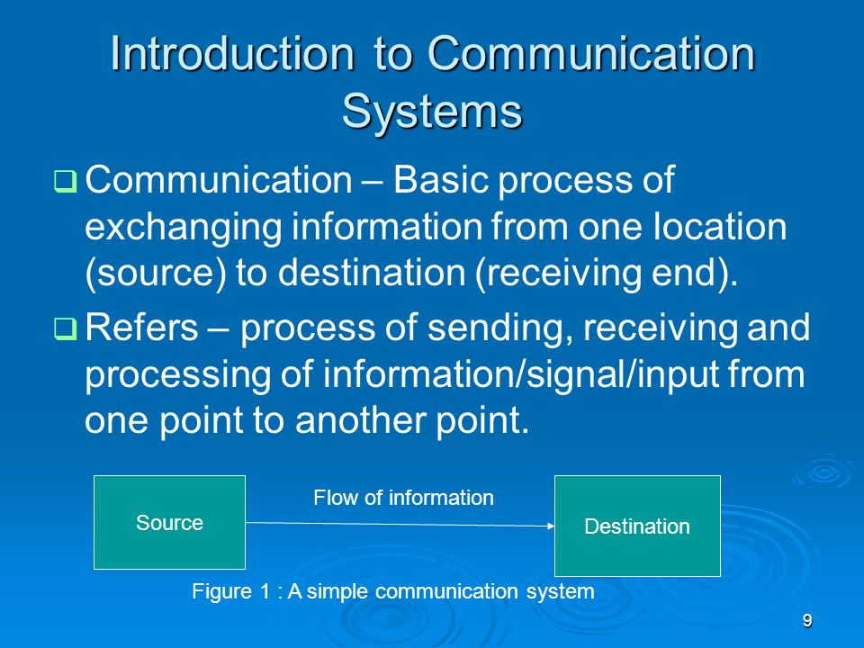 9 Introduction to Communication Systems Communication – Basic process of exchanging information from one location (source) to destination (receiving e