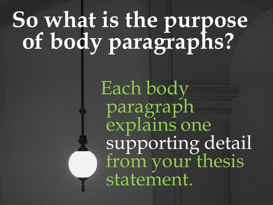 Body Paragraphs A body paragraph should begin with a topic sentence based on your thesis statement.