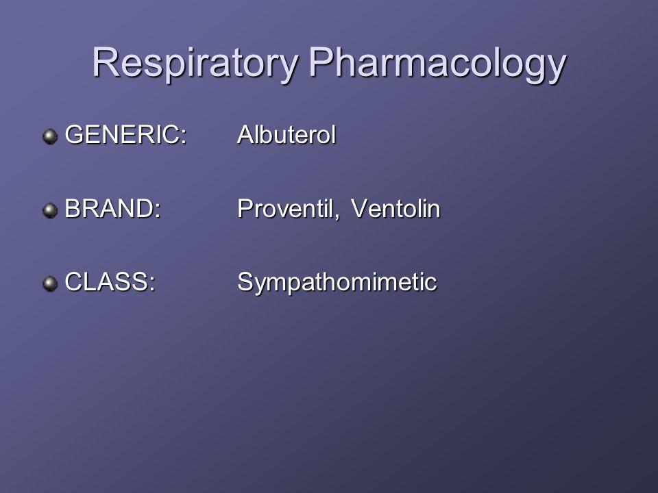Respiratory Pharmacology GENERIC:Albuterol BRAND:Proventil, Ventolin CLASS:Sympathomimetic