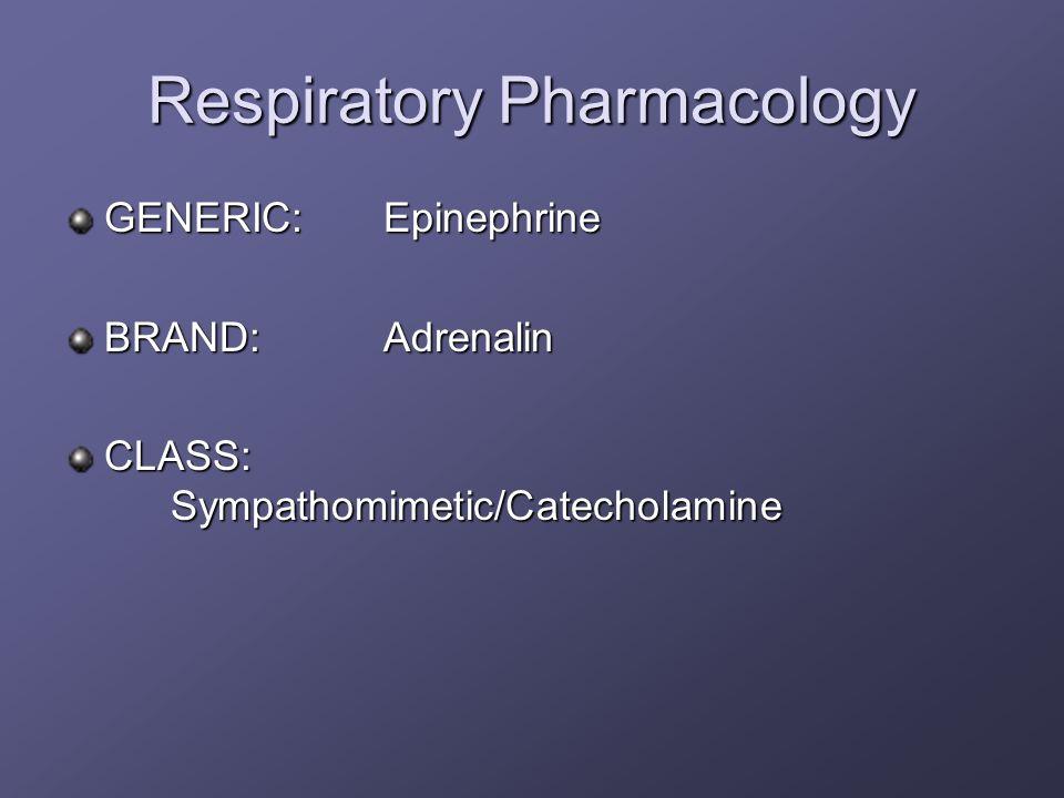 Respiratory Pharmacology GENERIC:Epinephrine BRAND:Adrenalin CLASS: Sympathomimetic/Catecholamine