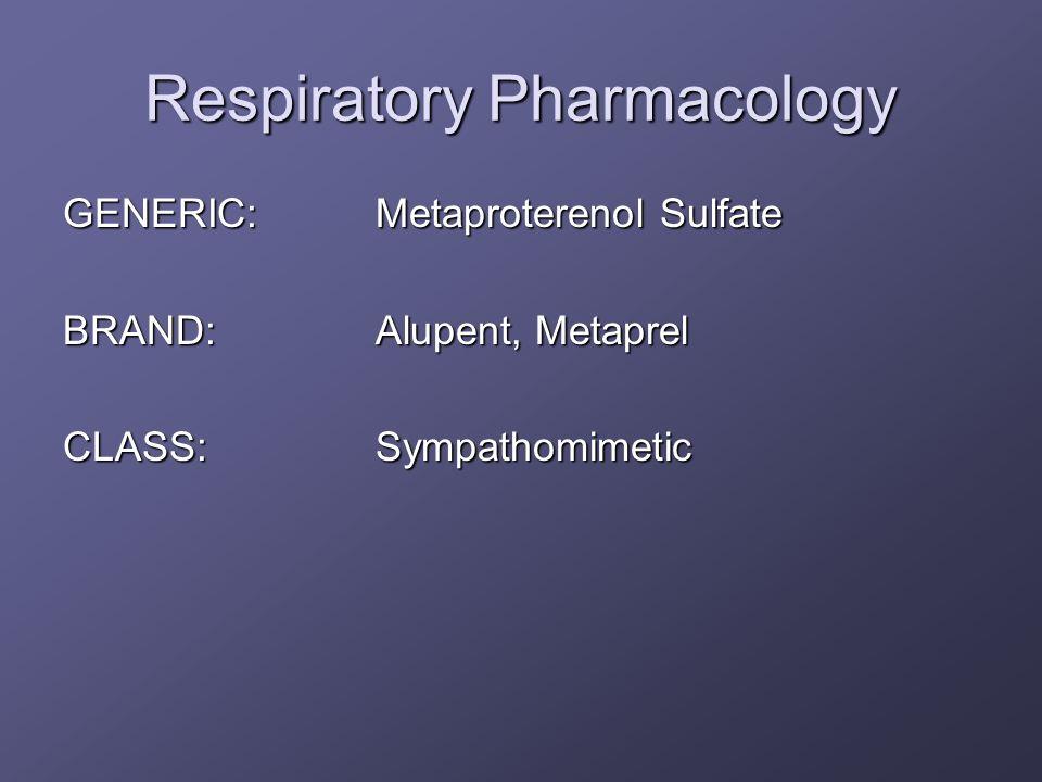 Respiratory Pharmacology GENERIC:Metaproterenol Sulfate BRAND:Alupent, Metaprel CLASS:Sympathomimetic