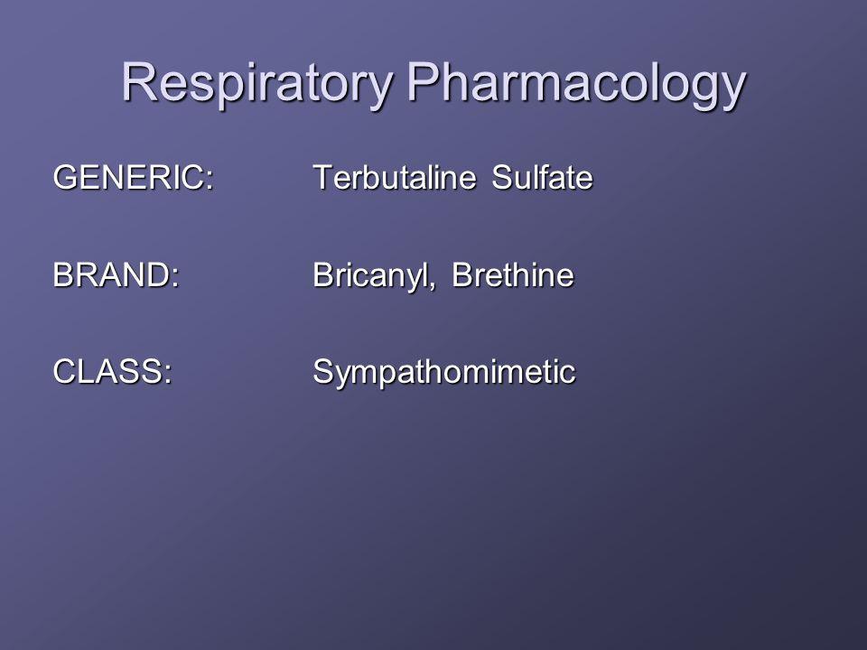 Respiratory Pharmacology GENERIC:Terbutaline Sulfate BRAND:Bricanyl, Brethine CLASS:Sympathomimetic