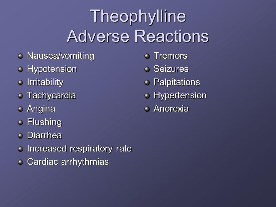 Theophylline Adverse Reactions Nausea/vomitingHypotensionIrritabilityTachycardiaAnginaFlushingDiarrhea Increased respiratory rate Cardiac arrhythmias