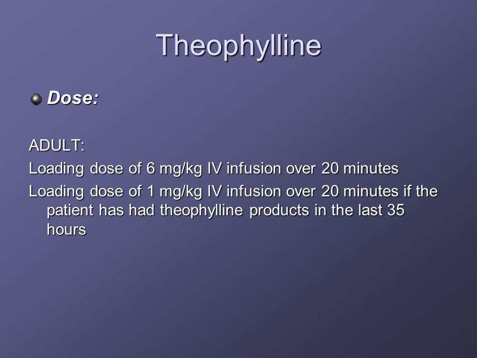 Theophylline Dose:ADULT: Loading dose of 6 mg/kg IV infusion over 20 minutes Loading dose of 1 mg/kg IV infusion over 20 minutes if the patient has ha
