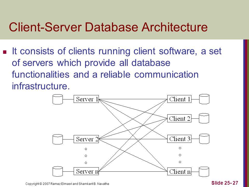 Copyright © 2007 Ramez Elmasri and Shamkant B. Navathe Client-Server Database Architecture Slide 25- 27 It consists of clients running client software