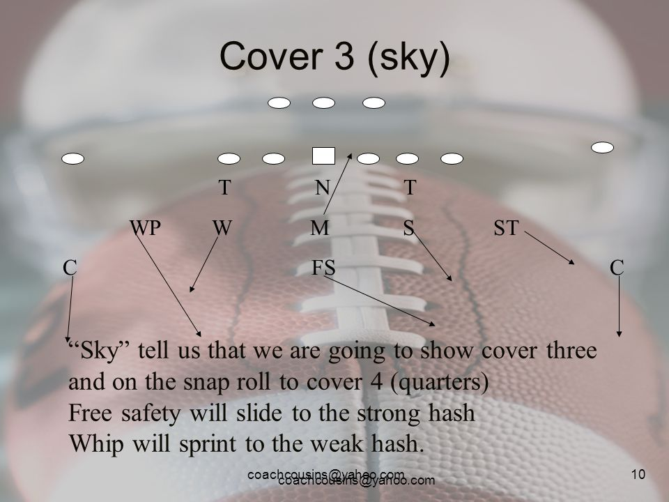 coachcousins@yahoo.com 10 Cover 3 (sky) T N T WP W M S ST C FS C Sky tell us that we are going to show cover three and on the snap roll to cover 4 (qu