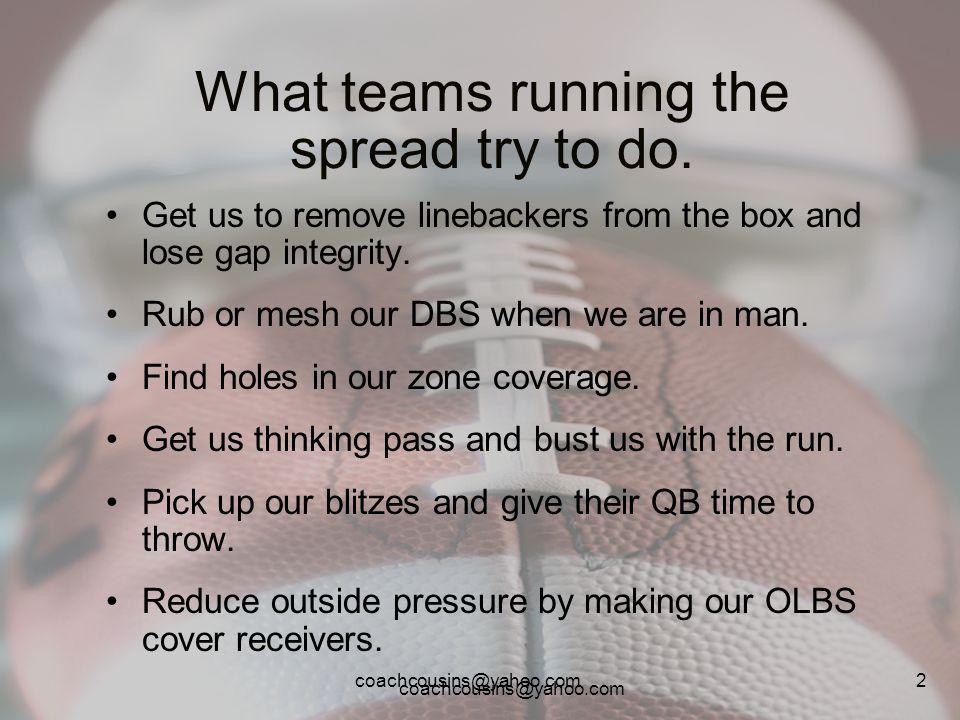 coachcousins@yahoo.com 13 Formation adjustments against the spread.