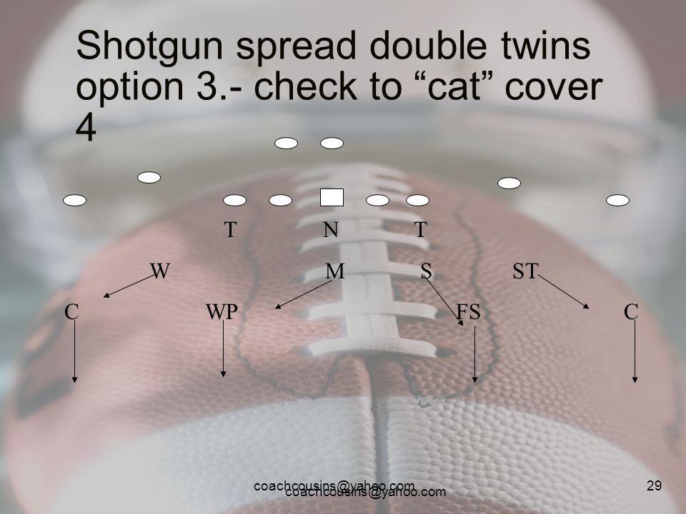 coachcousins@yahoo.com 29 Shotgun spread double twins option 3.- check to cat cover 4 T N T W M S ST C WP FS C