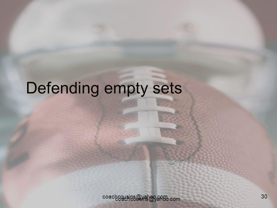 coachcousins@yahoo.com 30 Defending empty sets