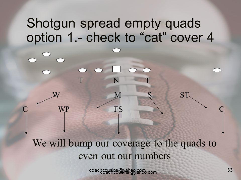 coachcousins@yahoo.com 33 Shotgun spread empty quads option 1.- check to cat cover 4 T N T W M S ST C WP FS C We will bump our coverage to the quads t