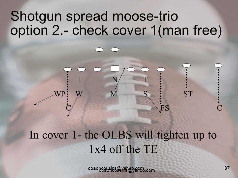 coachcousins@yahoo.com 37 Shotgun spread moose-trio option 2.- check cover 1(man free) T N T WP W M S ST C FS C In cover 1- the OLBS will tighten up t