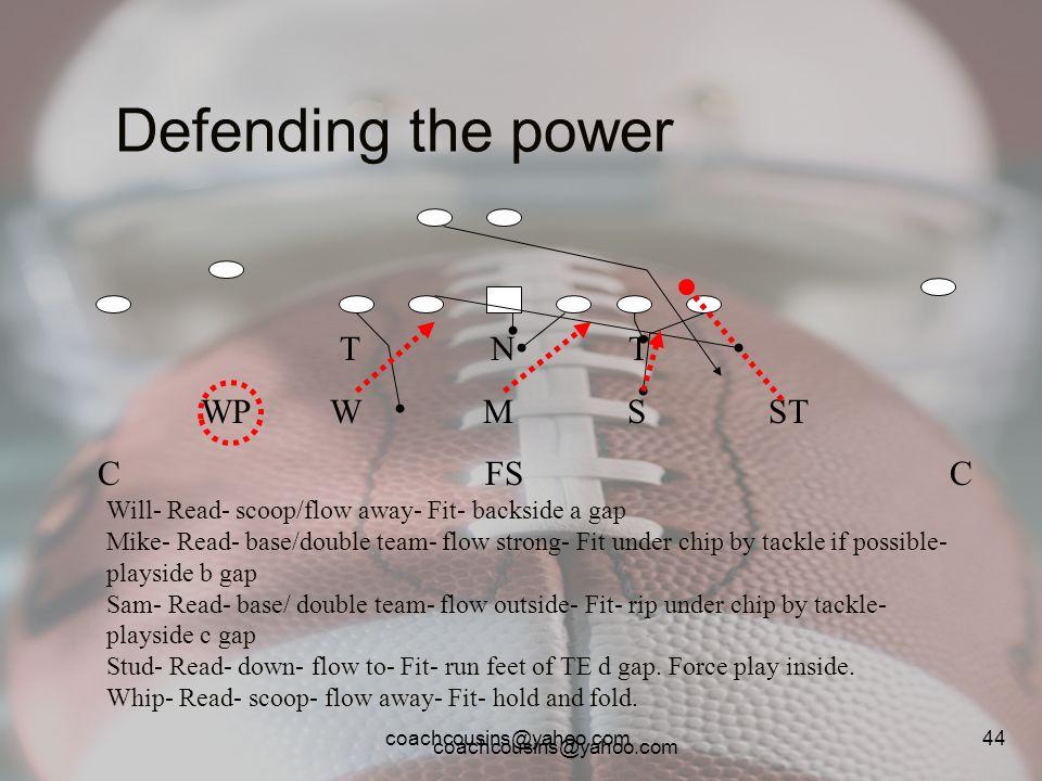 coachcousins@yahoo.com 44 Defending the power T N T WP W M S ST C FS C Will- Read- scoop/flow away- Fit- backside a gap Mike- Read- base/double team-