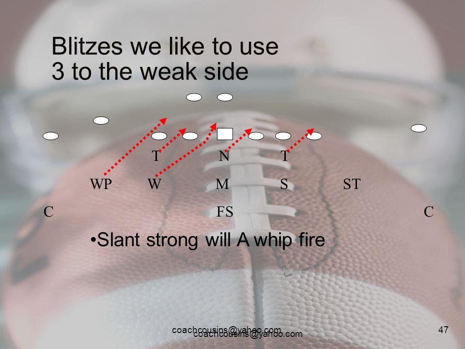 coachcousins@yahoo.com 47 Blitzes we like to use 3 to the weak side T N T WP W M S ST C FS C Slant strong will A whip fire