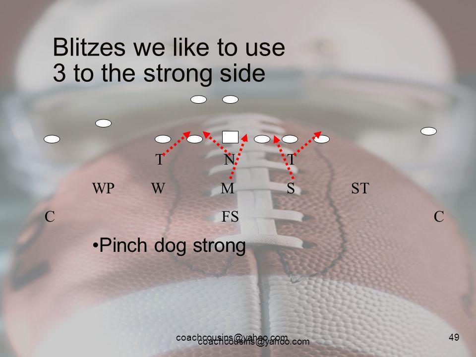 coachcousins@yahoo.com 49 Blitzes we like to use 3 to the strong side T N T WP W M S ST C FS C Pinch dog strong