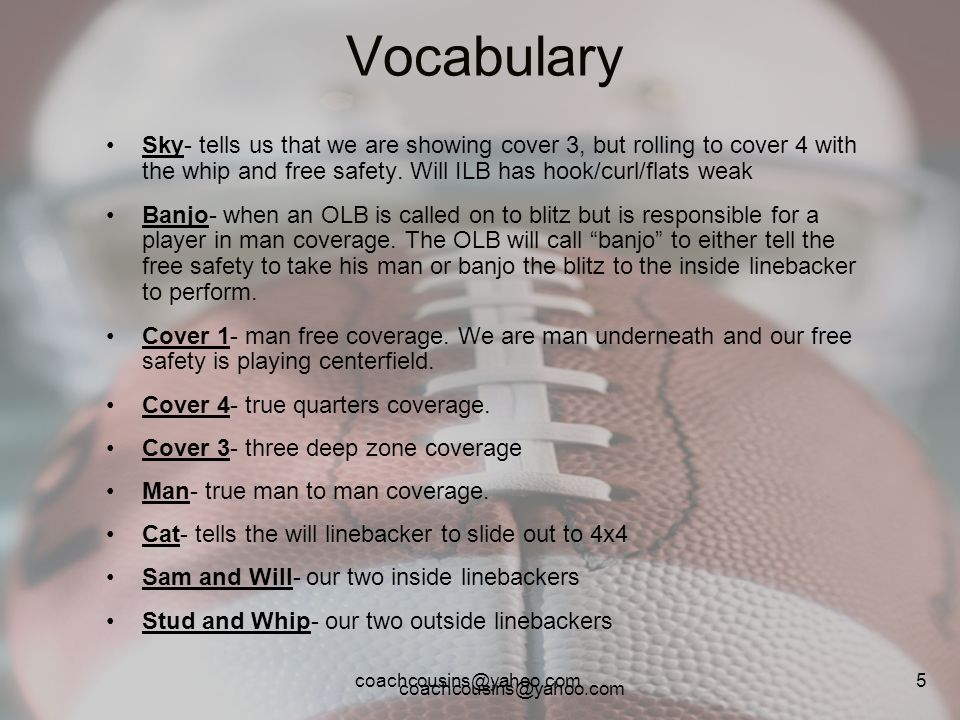 coachcousins@yahoo.com 5 Vocabulary Sky- tells us that we are showing cover 3, but rolling to cover 4 with the whip and free safety. Will ILB has hook