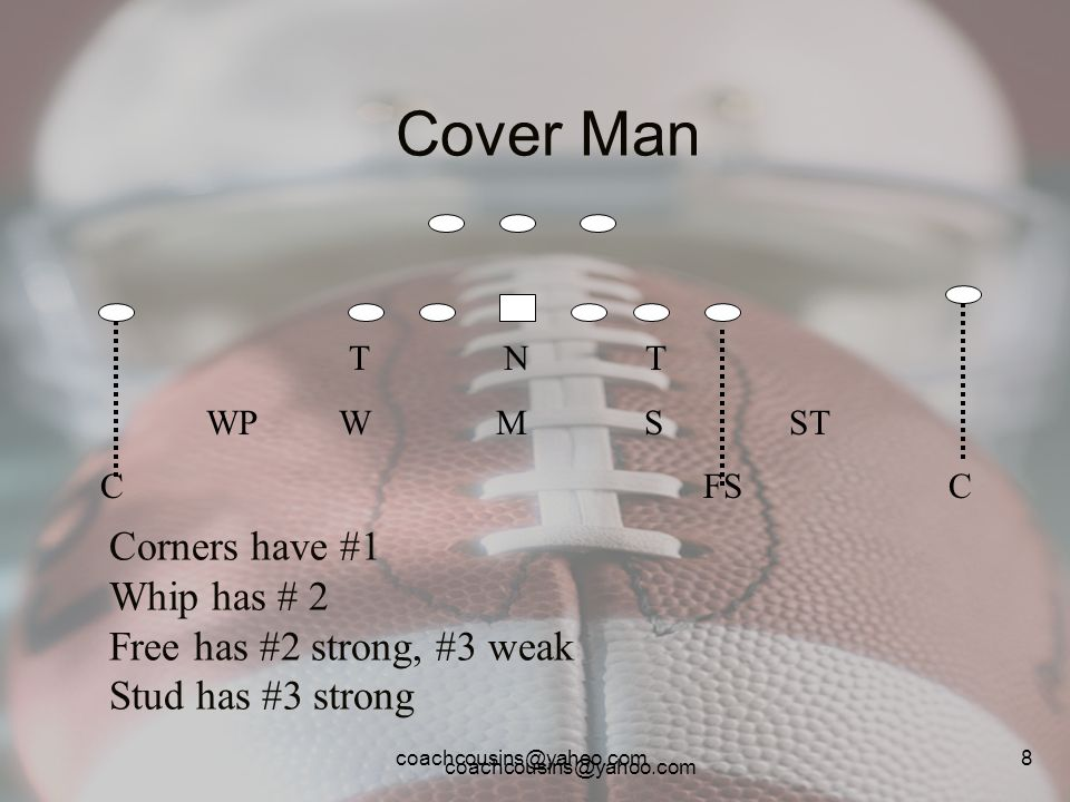 coachcousins@yahoo.com 9 Cover 1 (man free) T N T WP W M S ST C FS C Corners have #1 Whip has # 2 Free has #3 either way Stud has #2 strong