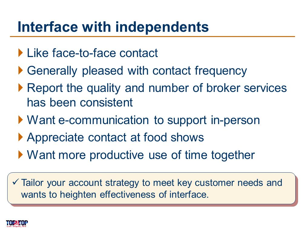 15 Interface with independents Like face-to-face contact Generally pleased with contact frequency Report the quality and number of broker services has been consistent Want e-communication to support in-person Appreciate contact at food shows Want more productive use of time together Tailor your account strategy to meet key customer needs and wants to heighten effectiveness of interface.