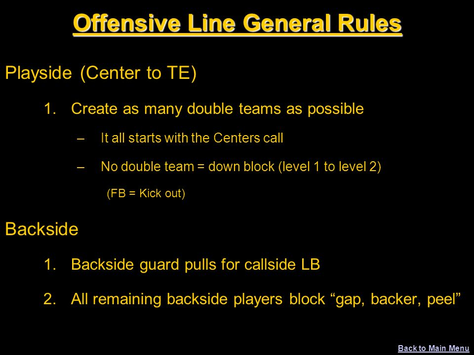 Offensive Line General Rules Playside (Center to TE) 1.Create as many double teams as possible –It all starts with the Centers call –No double team =