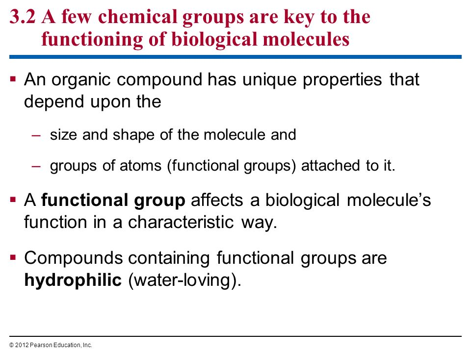 3.2 A few chemical groups are key to the functioning of biological molecules An organic compound has unique properties that depend upon the –size and