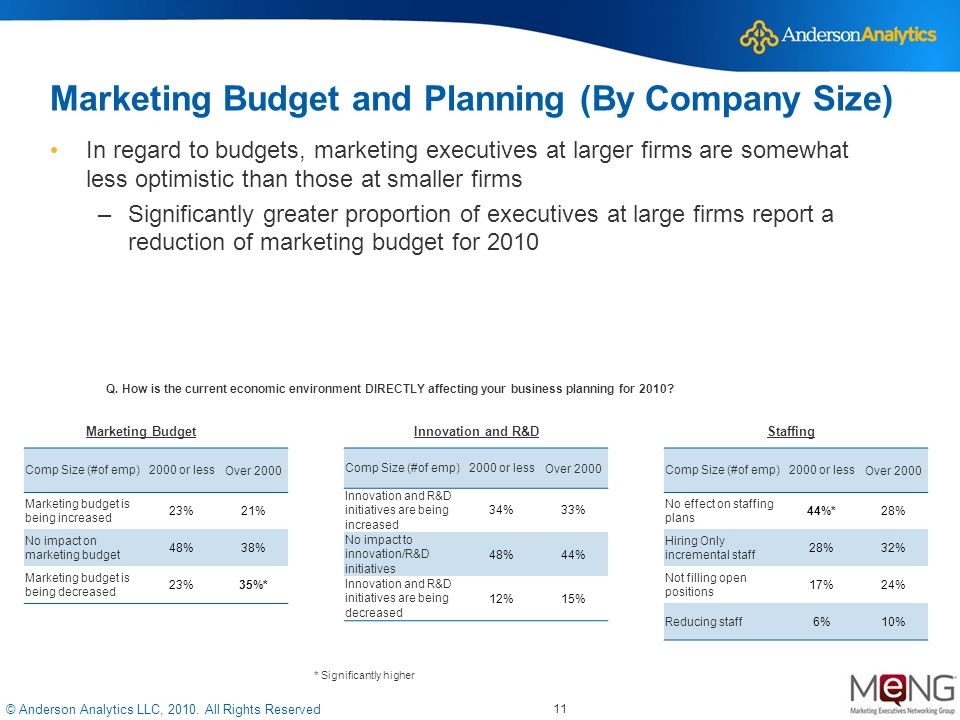 © Anderson Analytics LLC, 2010. All Rights Reserved 11 Marketing Budget and Planning (By Company Size) In regard to budgets, marketing executives at l
