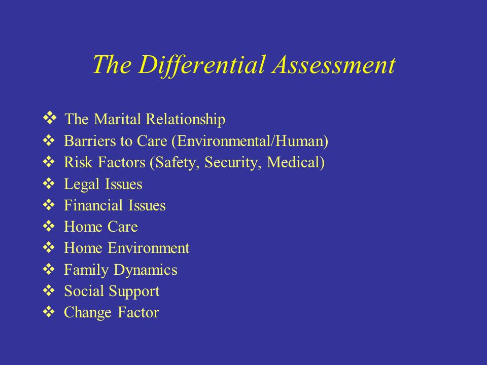 The Differential Assessment The Marital Relationship Barriers to Care (Environmental/Human) Risk Factors (Safety, Security, Medical) Legal Issues Financial Issues Home Care Home Environment Family Dynamics Social Support Change Factor