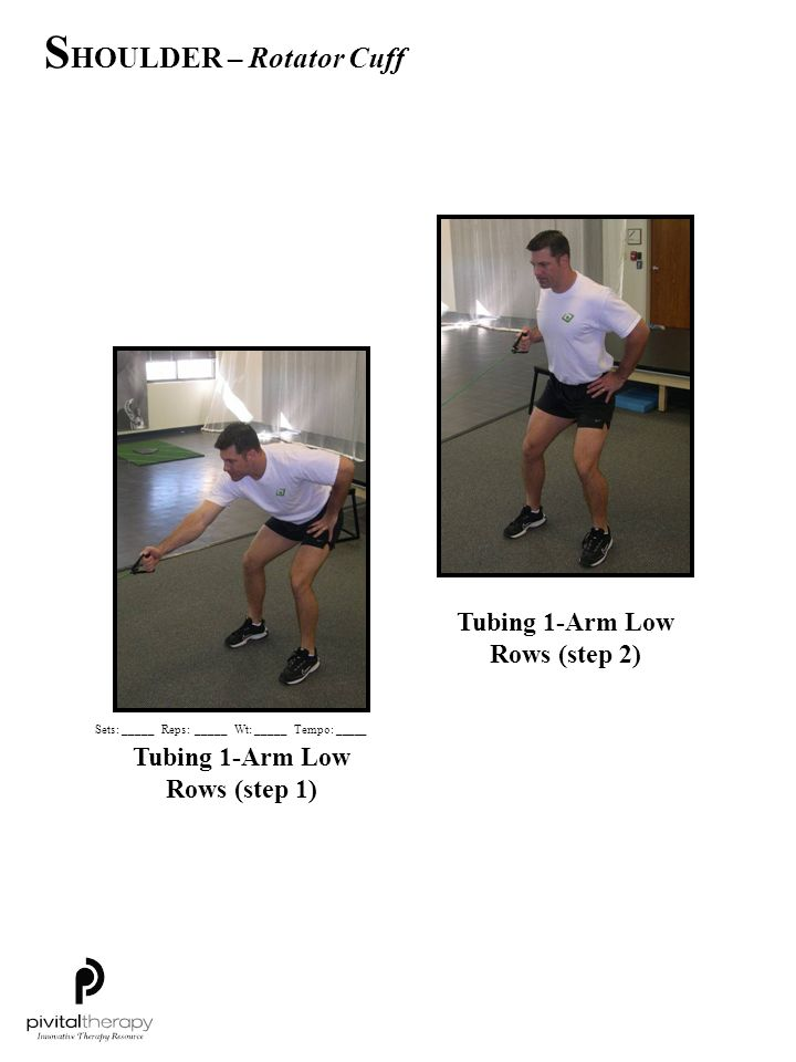 Tubing 1-Arm Low Rows (step 1) Tubing 1-Arm Low Rows (step 2) Sets:_____Reps:_____Wt:_____Tempo: _____ S HOULDER – Rotator Cuff