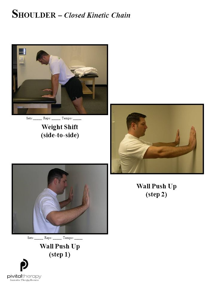 Weight Shift (side-to-side) Wall Push Up (step 1) Wall Push Up (step 2) Sets:_____Reps:_____Tempo: _____ S HOULDER – Closed Kinetic Chain