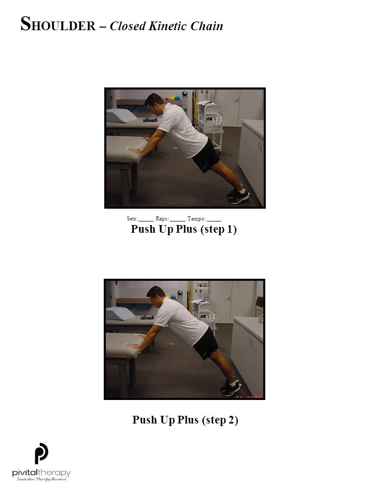 Push Up Plus (step 1) Push Up Plus (step 2) Sets:_____Reps:_____Tempo: _____ S HOULDER – Closed Kinetic Chain