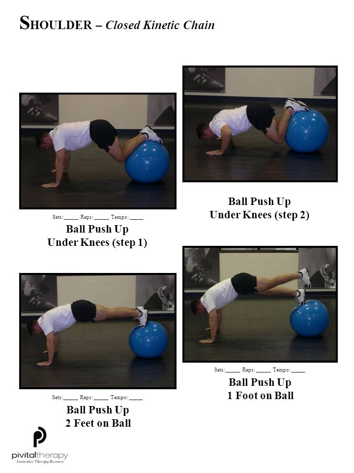 Ball Push Up Under Knees (step 1) Ball Push Up Under Knees (step 2) Ball Push Up 1 Foot on Ball Ball Push Up 2 Feet on Ball Sets:_____Reps:_____Tempo: