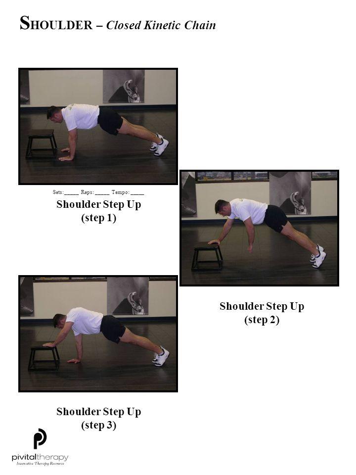 Shoulder Step Up (step 1) Shoulder Step Up (step 2) Shoulder Step Up (step 3) Sets:_____Reps:_____Tempo: _____ S HOULDER – Closed Kinetic Chain