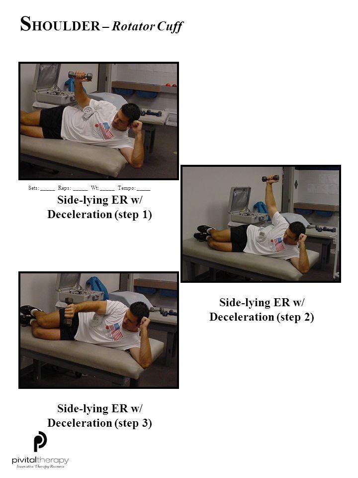 Side-lying ER w/ Deceleration (step 1) Side-lying ER w/ Deceleration (step 2) Side-lying ER w/ Deceleration (step 3) Sets:_____Reps:_____Wt:_____Tempo