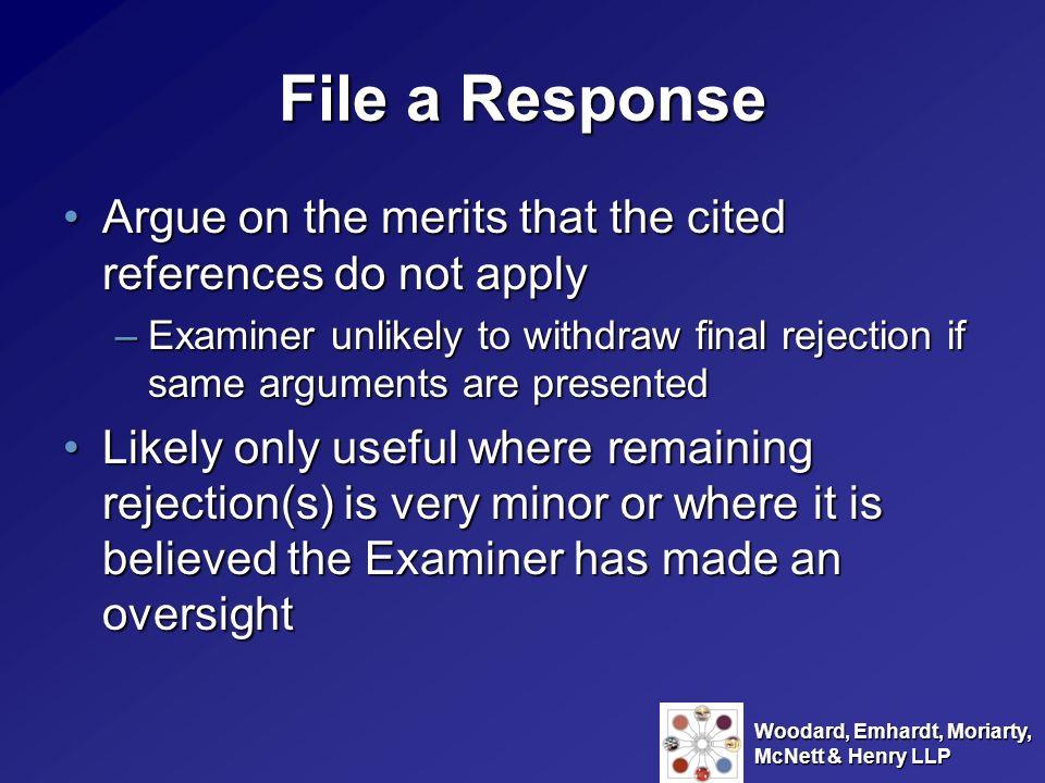 Woodard, Emhardt, Moriarty, McNett & Henry LLP File an Amendment and Response under 37 C.F.R.