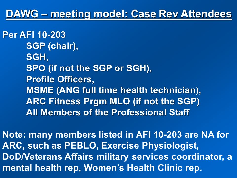 Per AFI 10-203 SGP (chair), SGH, SPO (if not the SGP or SGH), Profile Officers, MSME (ANG full time health technician), ARC Fitness Prgm MLO (if not t