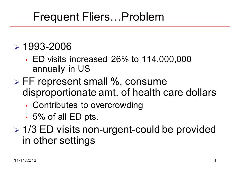 11/11/20134 Frequent Fliers…Problem 1993-2006 ED visits increased 26% to 114,000,000 annually in US FF represent small %, consume disproportionate amt