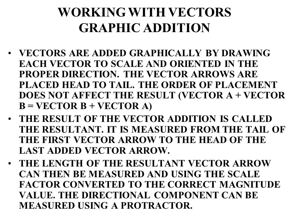 VECTORS ARE ADDED GRAPHICALLY BY DRAWING EACH VECTOR TO SCALE AND ORIENTED IN THE PROPER DIRECTION. THE VECTOR ARROWS ARE PLACED HEAD TO TAIL. THE ORD