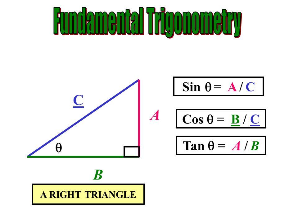 A B C Sin = A / C Cos = B / C Tan = A / B A C B A B A RIGHT TRIANGLE C