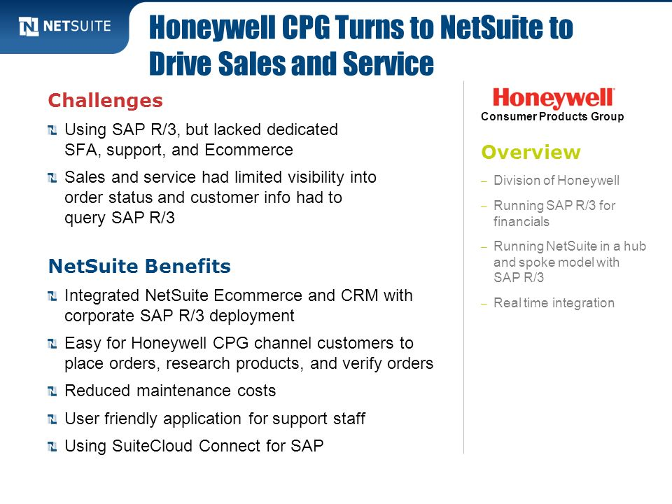Overview – Division of Honeywell – Running SAP R/3 for financials – Running NetSuite in a hub and spoke model with SAP R/3 – Real time integration Cha