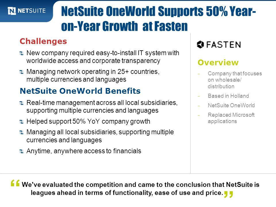 Overview Company that focuses on wholesale/ distribution Based in Holland NetSuite OneWorld Replaced Microsoft applications Challenges New company req