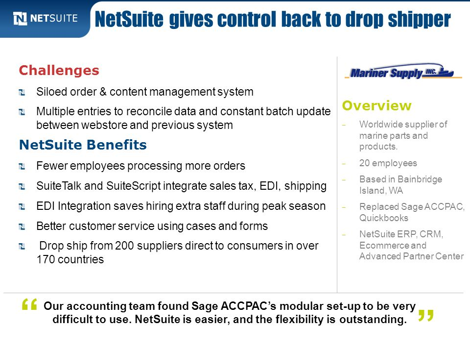 Overview Worldwide supplier of marine parts and products. 20 employees Based in Bainbridge Island, WA Replaced Sage ACCPAC, Quickbooks NetSuite ERP, C