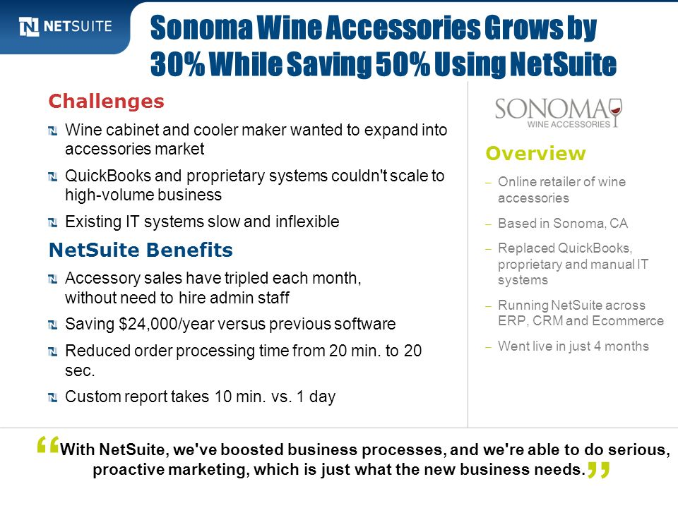 Overview – Online retailer of wine accessories – Based in Sonoma, CA – Replaced QuickBooks, proprietary and manual IT systems – Running NetSuite acros