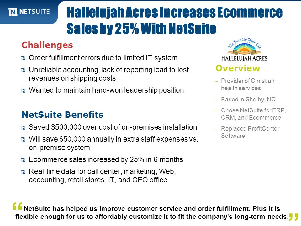 Overview – Provider of Christian health services – Based in Shelby, NC – Chose NetSuite for ERP, CRM, and Ecommerce – Replaced ProfitCenter Software C