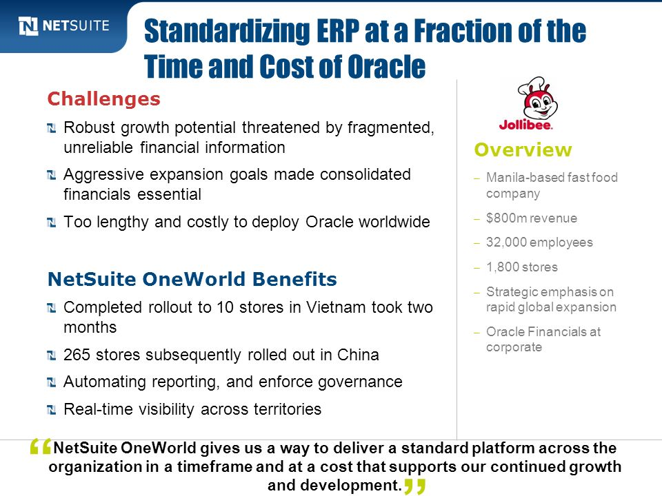 Overview – Manila-based fast food company – $800m revenue – 32,000 employees – 1,800 stores – Strategic emphasis on rapid global expansion – Oracle Fi