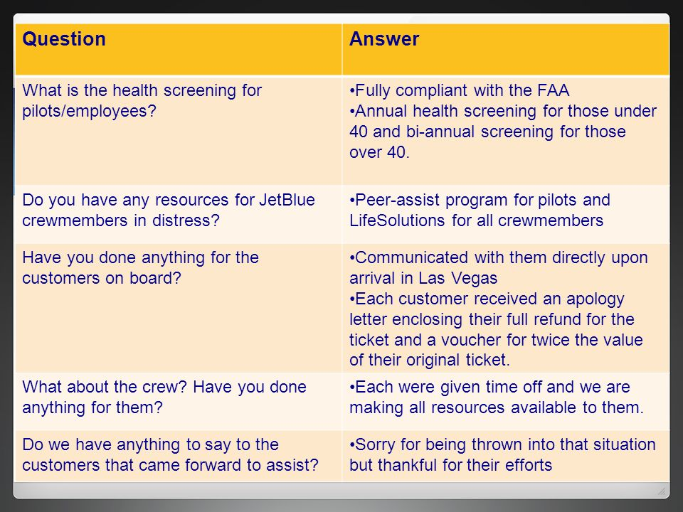 QuestionAnswer What is the health screening for pilots/employees? Fully compliant with the FAA Annual health screening for those under 40 and bi-annua