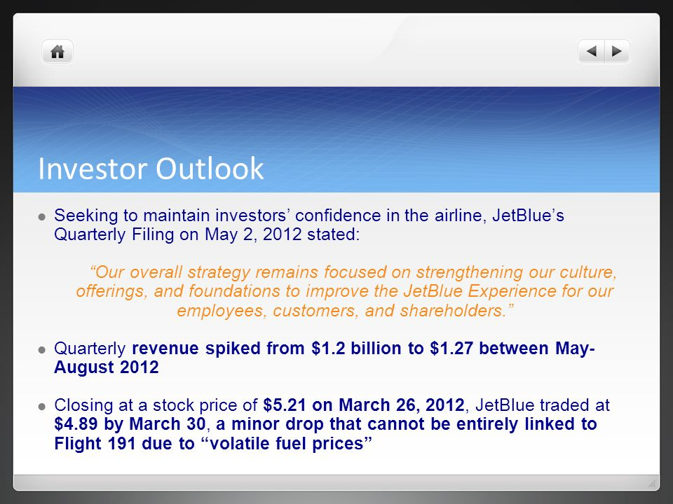 Investor Outlook Seeking to maintain investors confidence in the airline, JetBlues Quarterly Filing on May 2, 2012 stated: Our overall strategy remain