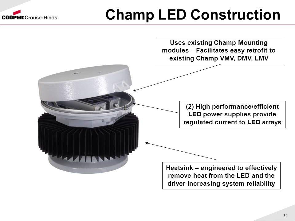 15 Champ LED Construction Uses existing Champ Mounting modules – Facilitates easy retrofit to existing Champ VMV, DMV, LMV (2) High performance/effici