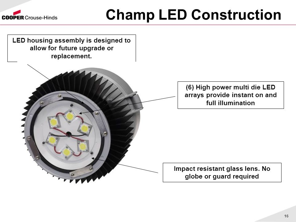 16 Champ LED Construction LED housing assembly is designed to allow for future upgrade or replacement. (6) High power multi die LED arrays provide ins