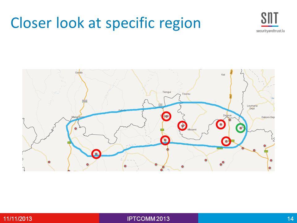 Closer look at specific region IPTCOMM 201311/11/201314