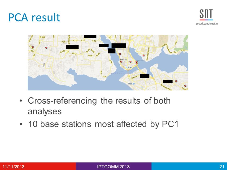 PCA result Cross-referencing the results of both analyses 10 base stations most affected by PC1 IPTCOMM 201311/11/201321
