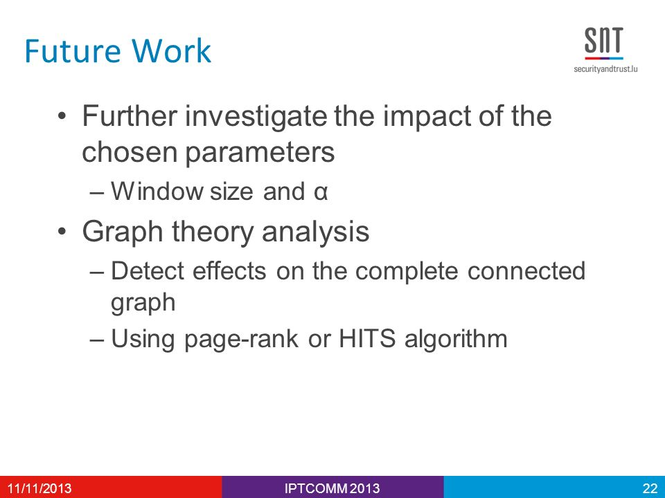 Future Work Further investigate the impact of the chosen parameters –Window size and α Graph theory analysis –Detect effects on the complete connected graph –Using page-rank or HITS algorithm IPTCOMM /11/201322